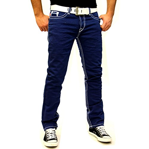 BAXBOY Straight Cut Dicke Naht Jeans Hose stone-washed Blue Denim BB121-2 Blau