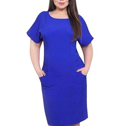 QIYUN.Z Frauen Beiläufiges Normallackkurzschlußhülsenknielängenkleid Plus Größe Mit Taschen Dunkelblau