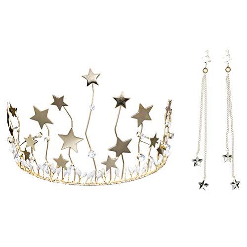 Lurrose Sterne Strass Krone und Ohrringe Set für Hochzeit Frauen Brautschmuck Kopfschmuck Geschenk