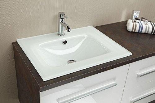 Preisvergleich Produktbild Dreams4Home Glasbecken 'Siri H', Waschbecken, Waschtisch, Handwaschbecken, Aufsatzwaschbecken, Hängewaschbecken, Badezimmer, (H/B/T) ca. 15 x 60 x 46 cm, weiß