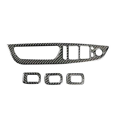 4pcs / Set Car Glass Window Ascensore Interruttore Pannello di bracciolo disposizione della copertura della decorazioni in fibra di carbonio per BMW X5 X6 E70 E71 2008-2013