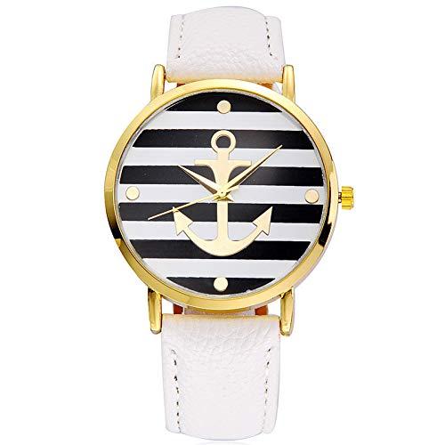 WLFPEG ModeBoot Anker Uhr Frauen Leder Quarzuhren Genf Weiß Casual Frau Uhren Weibliche Uhr