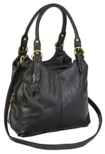 Womens Medium Size Plain Shoulder Bag with a Long Strap With a Branded Protective Storage Bag and Charm (Black 105)