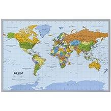 Politische Weltkarte auf Kork Pinnwand, deutsch, mit 100 Nadeln