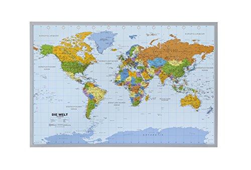 Politische Weltkarte auf Kork Pinnwand, deutsch, mit 100 Nadeln (Weltkarte Im Klassenzimmer)