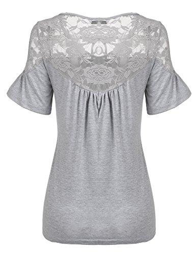 Trudge Damen Kurzarm T-Shirts Spitze U-Ausschnitt Keyhole Top Kurzarmshirt Grau