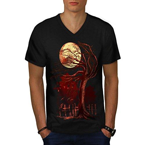 wellcoda Bonsai Baum Tempel Männer 2XL V-Ausschnitt T-Shirt