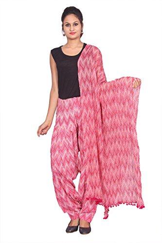 Rama Women\'s Cotton Printed Pink Full Patiala and Dupatta Set