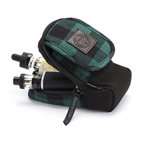 Vape Pen Carrying Case for Travels - Secure, Organized, Premium Vape Bag - Fits Medium Mechanical Box Mods, e-Juice, Battery, Tank Holder & Accessories - Wick and Wire (Stash Green)