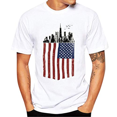 riou_Camisetas de Manga Cortas para Hombre con Cuello Redondo Estampado con Bandera Americana Originales Casual T-Shirt Blusas Camisas Suave básica Camiseta