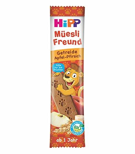 HiPP Bio Riegel Müesli-Freund Löwe Getreide & Apfel-Pfirsich, 24er Pack (24 x 20 g)