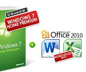 Windows 7 Home Premium 32-Bit / 64-Bit + Office 2010 Deutsche Vollversion (Word 2010 + Excel 2010) (7 Home Windows Premium)
