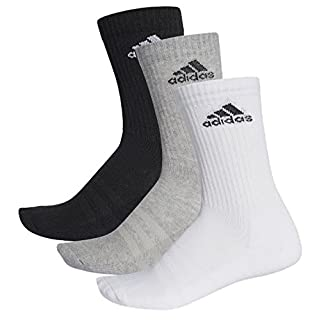 adidas Unisex 3S Performance Crew C Socken 3 Paar , Schwarz (Black/Medium Grey Heather/White) , 43-46