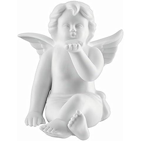 Angelo con baciamano da porcellana biscuit bianco opaco, da qualità Rosenthal 11 cm in una scatola da regalo
