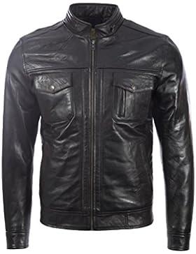 Hombres Muy Estiloso Muy Suave 100% Cuero Auténtico Chaqueta De Moda Moto Por MDK