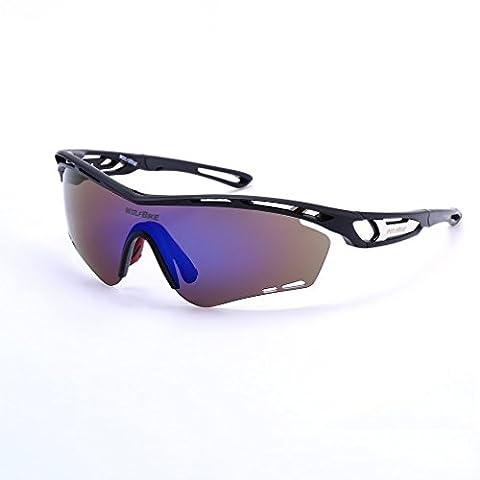 UV Fahrradbrille,OUTAD UV Polarisiert Sonnenbrille Farbige Radbrille mit 2 Auswechselbaren Gläser Sport Brille Schutzbrille für Radfahren Mountainbike Laufen Angeln Golf Outdoor