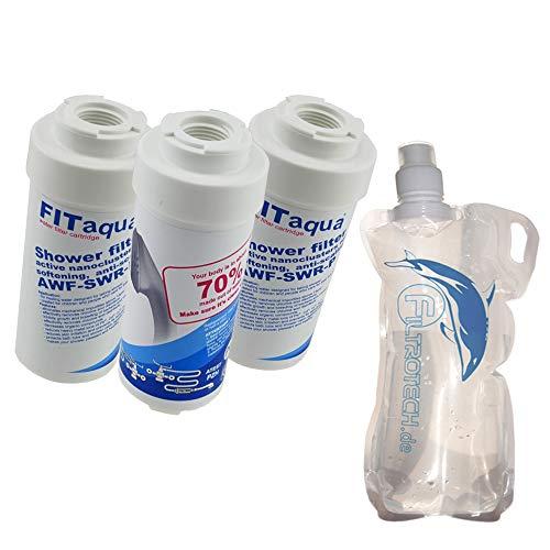 SWR-3FIT 3X Kalkfilter für Dusche Badewanne Duschfilter KDF gegen Kalk und Chlor bessere Wasserqualität Wasserfilter Entkalker