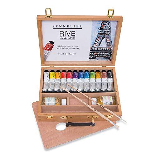 Rive Gauche Oil Wooden Box Set by Sennelier, Includes 12-40ml Tubes of Oil Color, 100ml Thinner, 100ml Liquid Medium, Round Brush #4, Flat Brush #6 (10-130327-00)