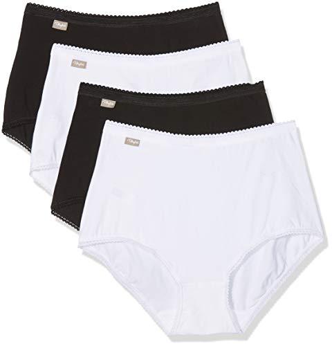 Playtex Coton Stretch Culotte Maxi Lot De 4 Braga Alta, Multicolor (Blanc/Noir 04x), 46 (Pack de 4 para Mujer)