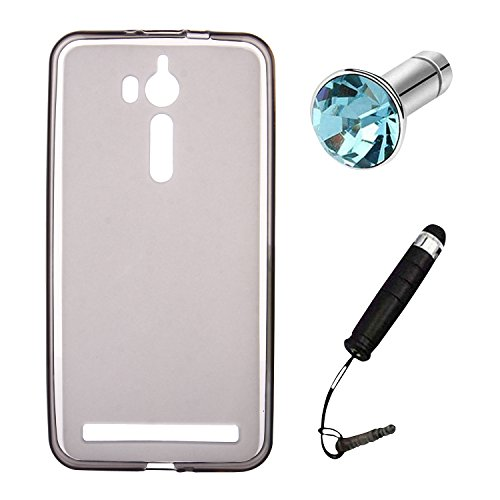 Lusee® Silikon TPU Hülle für Asus ZenFone Go ZB552KL / Go TV ZB551KL 5.5 Zoll Schutzhülle Case Cover Protektiv Silicone halb transparent grau