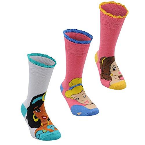 3 Paar Disney Kinder Maedchen Socken Motiv Struempfe Rueschen Borte Prinzessin Junior (Disney Training Prinzessin)