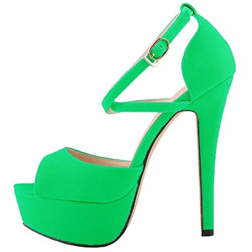 HooH Femmes Stiletto Plateforme Talon haut Robe Escarpins Mariage Chaussures a enfiler Vert-1