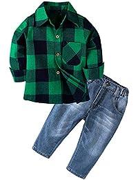 Mitlfuny Conjunto de 2 Piezas Cuadros Blusas + Vaquero Pantalones Jeans Ropa de Bebé Camisetas de Manga Larga Niñas Niños Solapa Botón Verde Camisas Tops Primavera Otoño Trajes Niño 1-6 Años