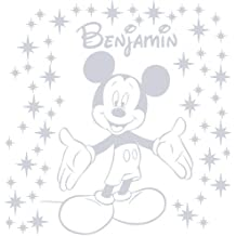 Tamaño 60cm Altura + 58star polvo color plata de color Metal personalizado Mickey mouse con nombre, adhesivo decorativo para pared, coche vinilo, dormitorio, cualquier nombre, infantil, después de la compra mensaje nosotros con su nombre ThatVinylPlace