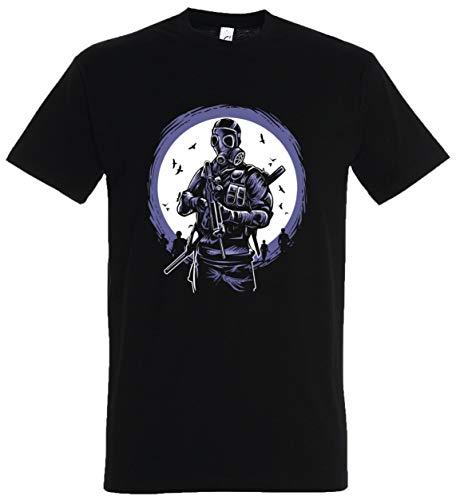 T-Shirt Herren/Damen Schwarz mit Squad Aufdruck (S, - Counter Strike Kostüm