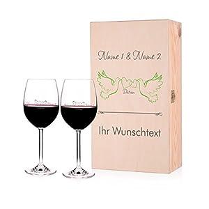Leonardo 2 Weingläser zur Hochzeit mit Gravur in Premium Verpackung