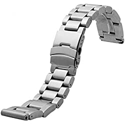 YISUYA 24mm Solid Stainless Steel Band 2.4cm Width Wrist Watch Band Strap Double Locking Fold-over Clasp Mens Steel Straps Silver