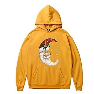 Xmiral Herren Kapuzenpullover gedruckt Big Pocket einfarbig Kordelzug Pullover Sweatshirt (XS,Gelb3)