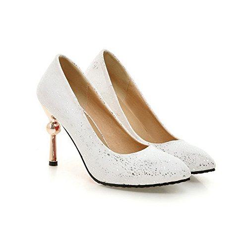 VogueZone009 Damen Pu Leder Stiletto Spitz Zehe Rein Ziehen Auf Pumps Schuhe Weiß