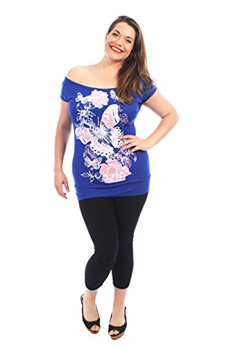 Chocolate Pickle ® Neue Dame-Schmetterlings-Rosen-Blumenschulterfrei kurze Hülse Taillen-Band-T-Shirts Royal Blue