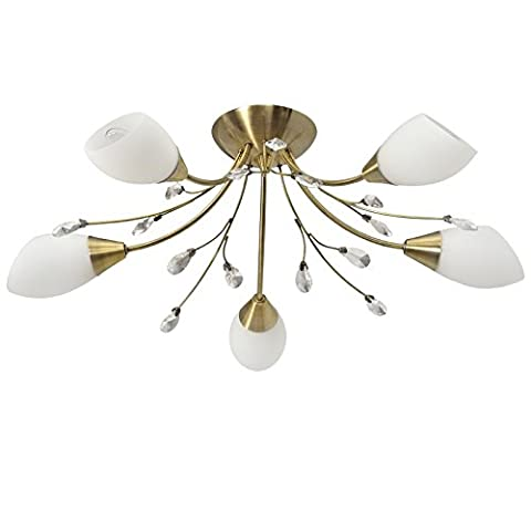 Traditional floral Ceiling light brass colour clear crystal drops metal white glass 5-arm diametre 62cm E14 5x60W 230V