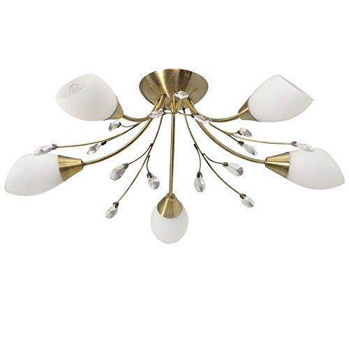 Lampadario da soffitto in metallo colore ottone gocce di cristallo trasparente paralumi in vetro bianco classico in soggiorno o in camera da letto 5 - bracci 5 * 60w e14 - escl