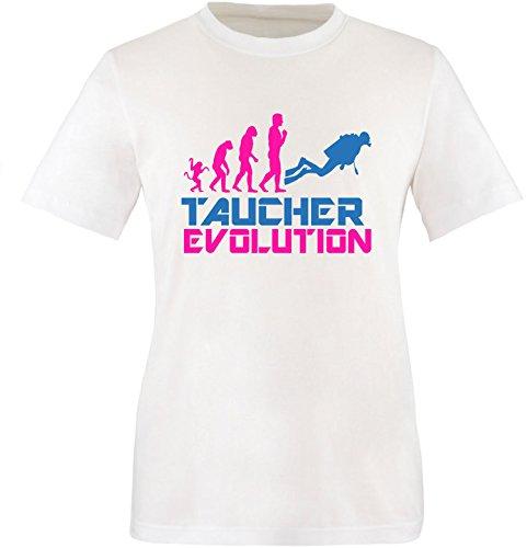 EZYshirt® Taucher Evolution Herren Rundhals T-Shirt Weiss/Pink/Blau
