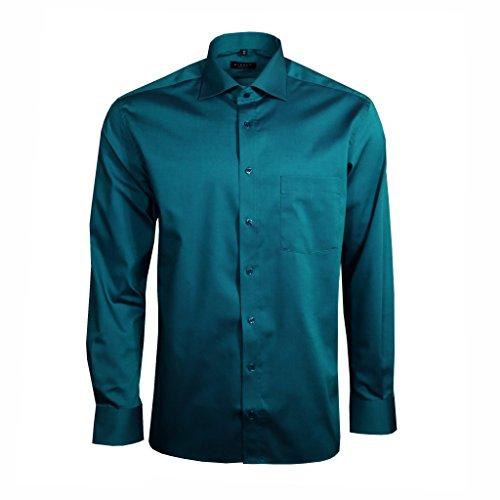 eterna Herrenhemd Langarm Modern Fit Blau Businesshemd Büro Hemd Freizeit Hemden Bügelfrei Baumwolle L/42