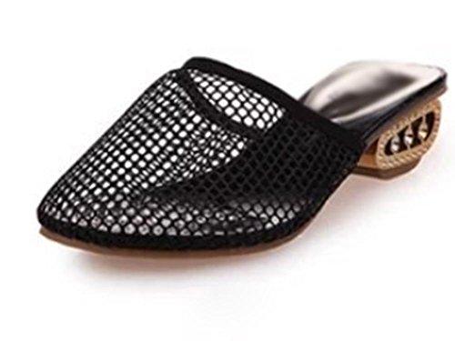 Baotou weiblichen Sommer Sandalen mit dicken Gaze beiläufige Hälfte Pantoffeln Schuhe Black