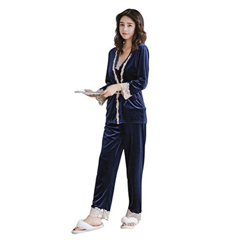 OULII Mujeres pijamas terciopelo tres piezas