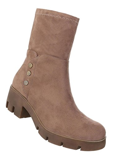 Schuhcity24 Damen Schuhe 16805 Stiefeletten Hellbraun 39