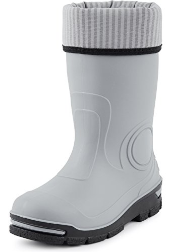 Ladeheid Kinder Gummistiefel Regenschuhe mit Warme Socke LARB013(Grau, 25/26 EU) - Wellie Warmers