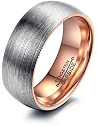 bigsoho New Tungsten Couple Ring Simple Silver Brushed Metal Design (Rose Gold Plate inside) Women/Men Rings Size L 1/2 - Y