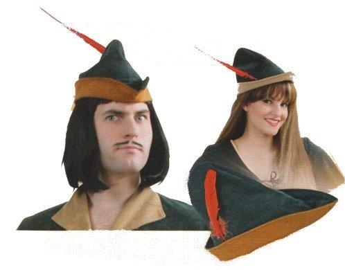 Hut Robin Mütze Samtoptik mit roter Feder Universalgröße für Erwachsene