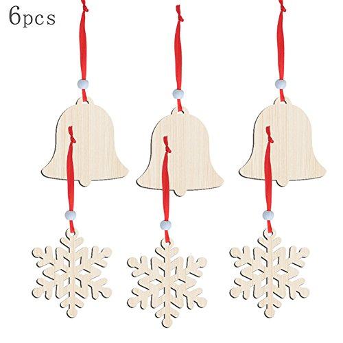 Cindaya Glocken Schneeflocken Holz Hohl Ornaments Weihnachten Zum aufhängen Ornaments Weihnachtsbaum Festival Fensterbank, 12 PCS