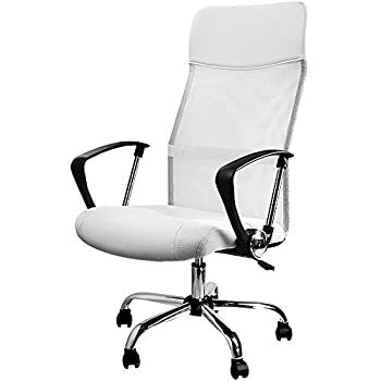 Deuba Office Chair White Mesh | High Back Desk Chair | Executive | 360 Swivel Seat | Arm Rests | Padded | Comfortable | Adjustable Recliner | Upholstered | Chromed | Ergonomic | Tilt and Lock Function