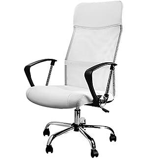 Silla de oficina tipo ejecutivo con malla, en color blanco, giratoria 360 °, ajustable y con asiento reclinable. Tapizada