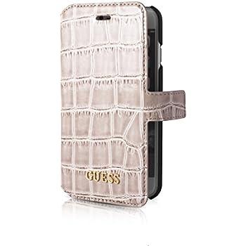 Guess Ledertasche Flipstyle Croco Schwarz für Apple iPhone 55S