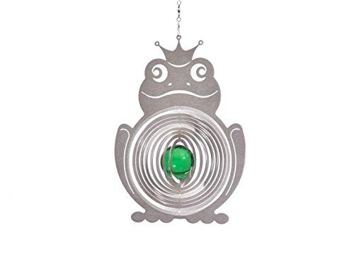 Illumino Edelstahl-Windspiel Froschkönig mit smaragdgrüner 35mm Glaskugel