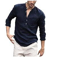 TUDUZ Men Shirt Women's Shirt Plain Grandad Collarless Casual Shirt Original Slim Fit Stand Neck Long Sleeve Daily Look Linen Shirt Tops Blouse XXL Yd Navy